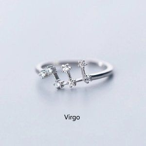 925 Sterling Silver Zodiac Resizable Ring-Virgo